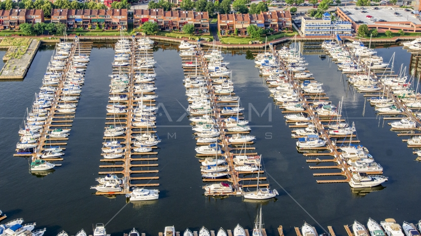 Boats docked at Anchorage Marina in Baltimore, Maryland Aerial Stock Photos | AXP073_000_0015F