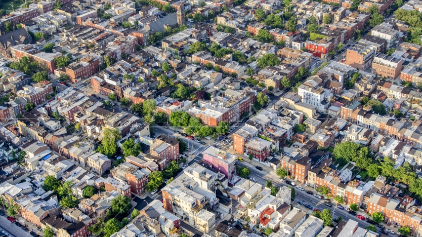 Town homes and apartment buildings in Baltimore, Maryland Aerial Stock Photos | AXP073_000_0017F