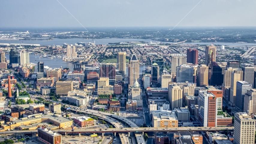 Baltimore City Hall and skyscrapers in downtown, Maryland Aerial Stock Photos | AXP073_000_0018F