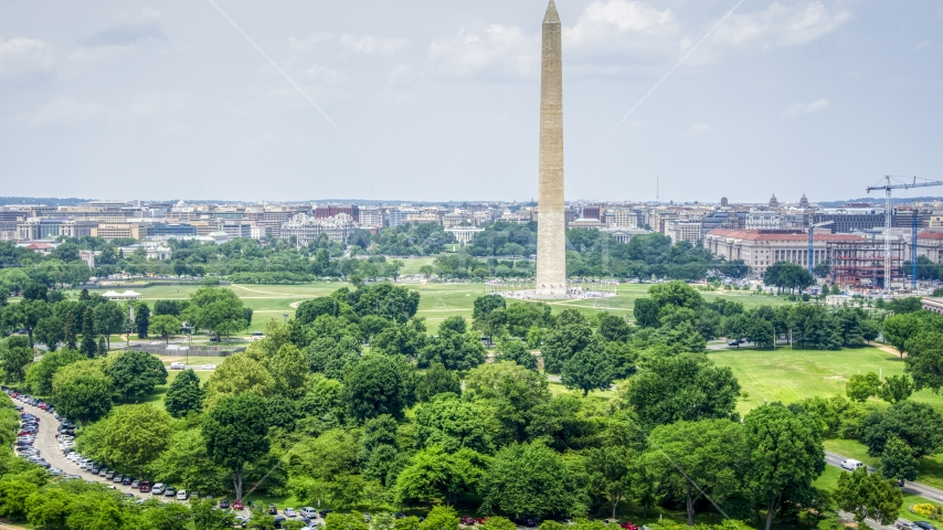 A view of the Washington Monument in Washington DC Aerial Stock Photos | AXP074_000_0009F