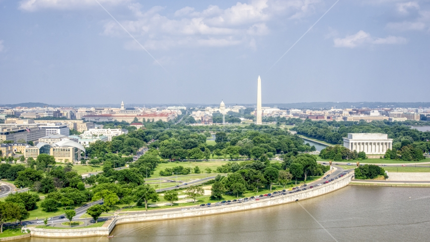 The Capitol dome, Washington Monument, and Lincoln Memorial in Washington DC Aerial Stock Photos | AXP075_000_0019F