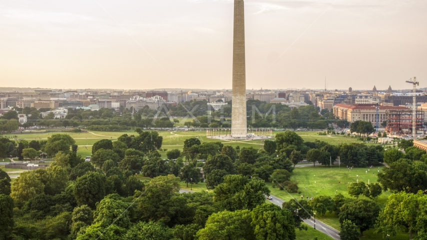 The White House and Washington Monument, Washington D.C., sunset Aerial Stock Photo AXP076_000_0007F | Axiom Images