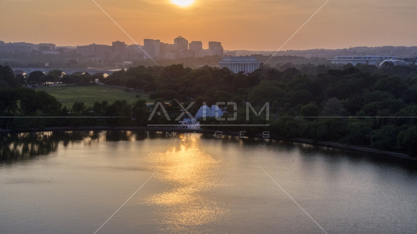Lincoln Memorial and the MLK National Memorial in Washington D.C., sunset Aerial Stock Photos | AXP076_000_0011F