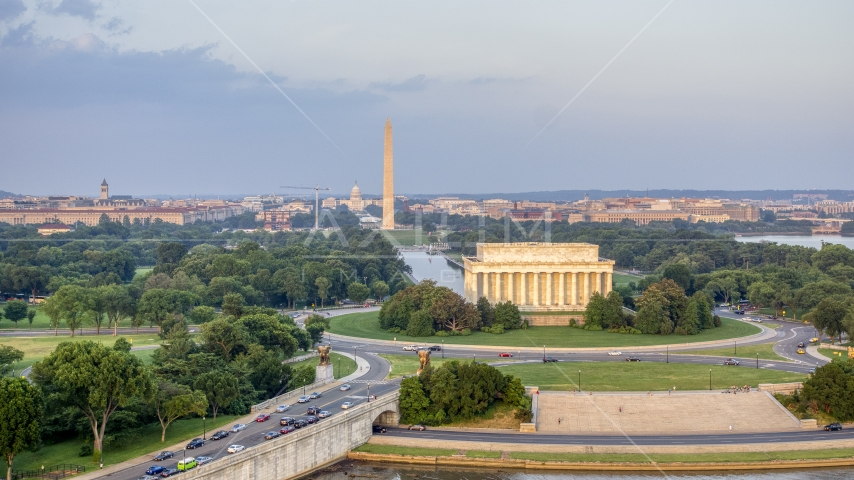 The Lincoln Memorial and Reflecting Pool, Washington Monument, National Mall, Washington D.C., sunset Aerial Stock Photo AXP076_000_0012F | Axiom Images