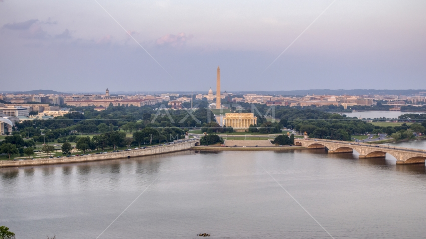 A wide view of the Lincoln Memorial, Washington Monument, National Mall, Washington D.C., sunset Aerial Stock Photos | AXP076_000_0019F