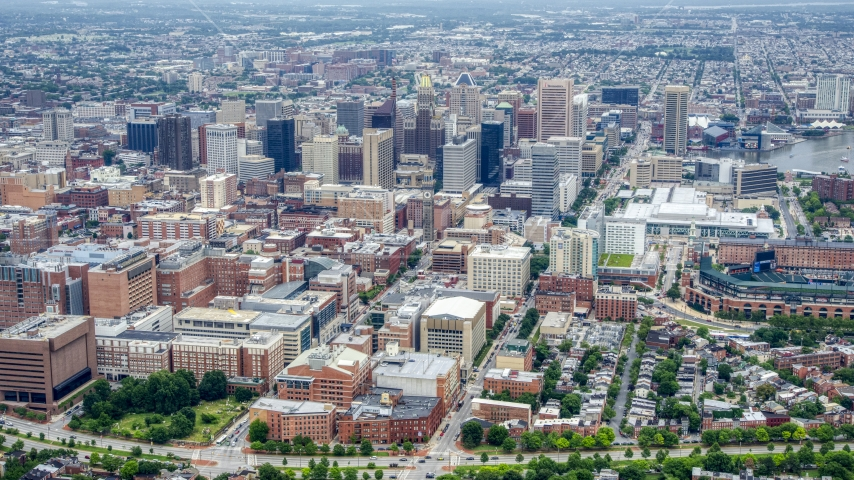 Downtown Baltimore, the Baltimore Convention Center, and Oriole Park, Maryland Aerial Stock Photo AXP078_000_0004F | Axiom Images