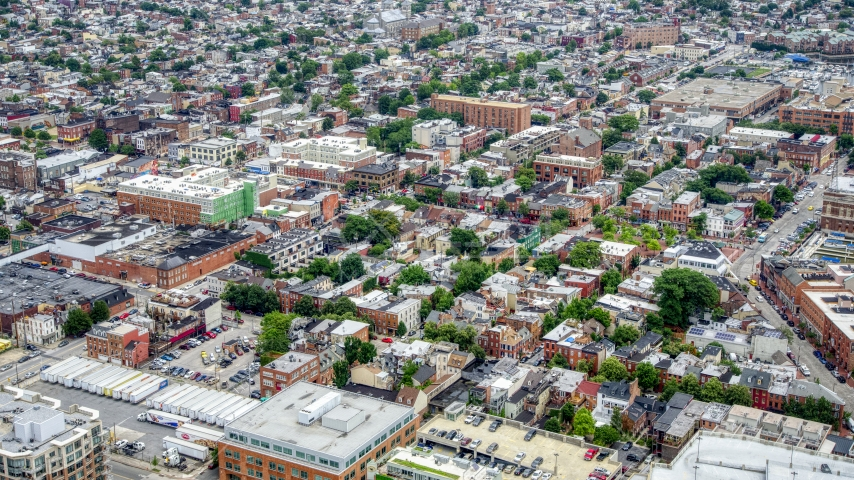 Shops and apartment buildings in Baltimore, Maryland Aerial Stock Photos | AXP078_000_0008F