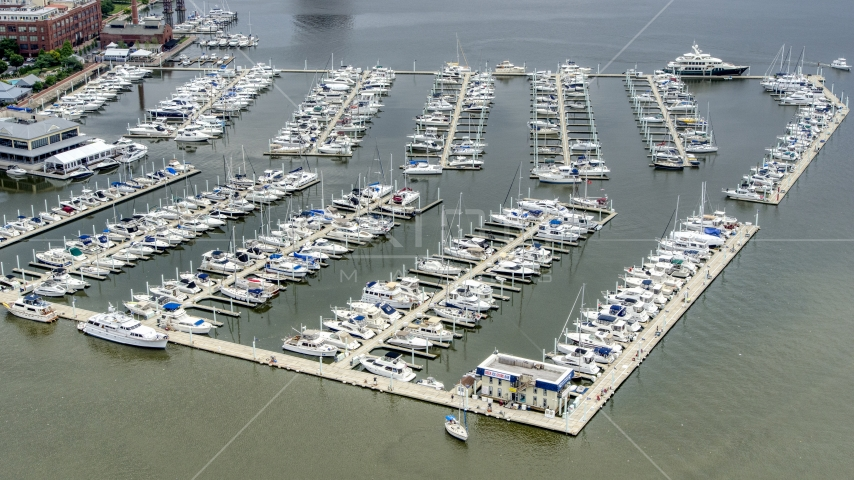 Boats docked at the Baltimore Marine Center, Maryland Aerial Stock Photos | AXP078_000_0009F