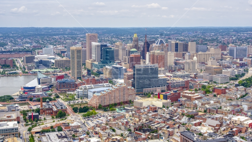 Skyscrapers and city buildings in the Downtown Baltimore skyline, Maryland Aerial Stock Photos | AXP078_000_0013F