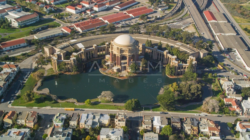 The historic Palace of Fine Arts in San Francisco, California Aerial Stock Photo DCSF05_036.0000074 | Axiom Images