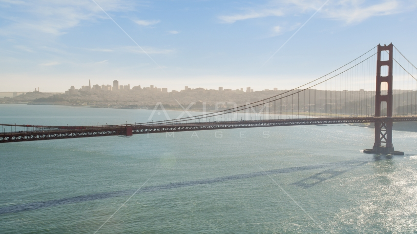 The famous Golden Gate Bridge and the downtown skyline in distance, San Francisco, California Aerial Stock Photos | DCSF05_043.0000344