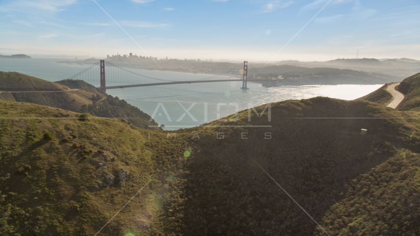 Golden Gate Bridge and downtown skyline seen from the Marin Headlands, Marin County, California Aerial Stock Photos | DCSF05_044.0000000