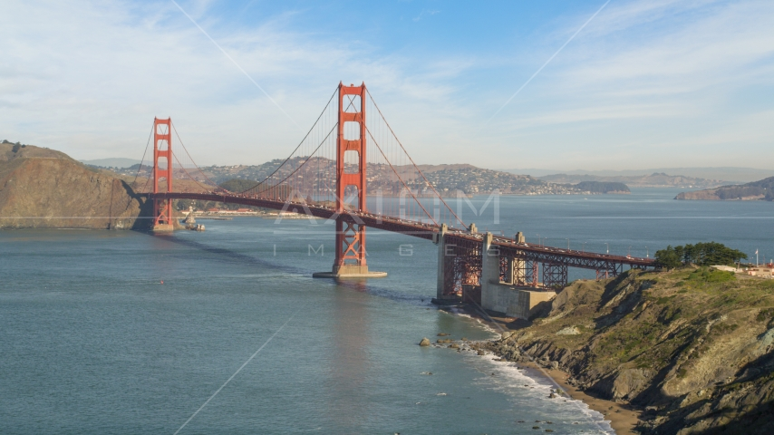 The south side of the Golden Gate Bridge, San Francisco, California Aerial Stock Photo DCSF05_062.0000261 | Axiom Images