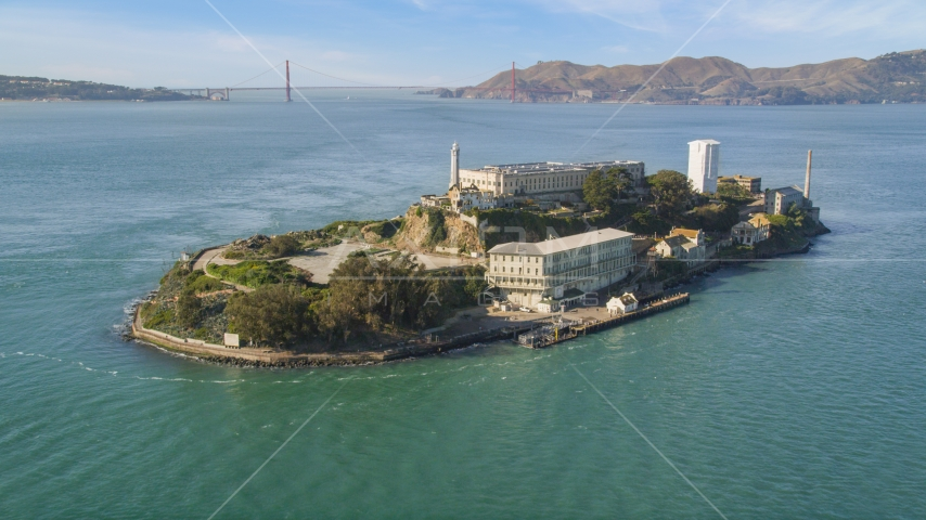 World famous Alcatraz and Golden Gate Bridge, San Francisco, California Aerial Stock Photos | DCSF05_071.0000399