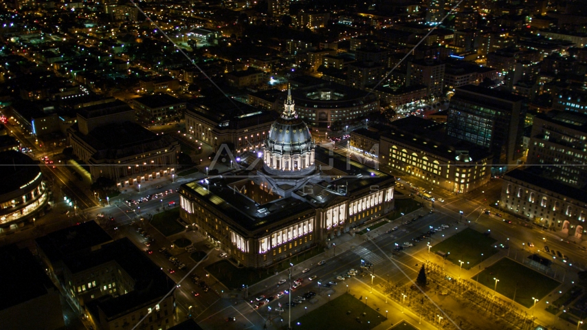 San Francisco City Hall in the Civic Center area of San Francisco, California, night Aerial Stock Photo DCSF06_006.0000242 | Axiom Images
