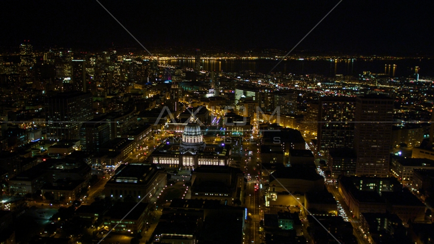 San Francisco City Hall and Civic Center in San Francisco, California, night Aerial Stock Photos | DCSF06_008.0000232