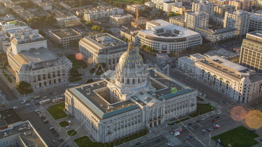San Francisco City Hall at sunset in Civic Center, San Francisco, California Aerial Stock Photos | DCSF07_019.0000093