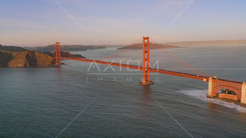 A view of the Golden Gate Bridge, San Francisco, California, sunset Aerial Stock Photos | DCSF07_045.0000249
