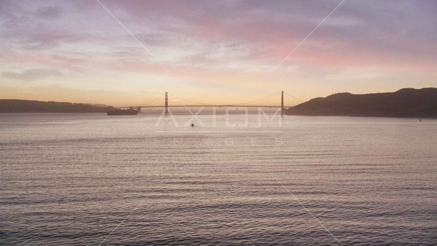 A wide view of the Golden Gate Bridge, San Francisco, California, twilight Aerial Stock Photos | DCSF07_082.0000000