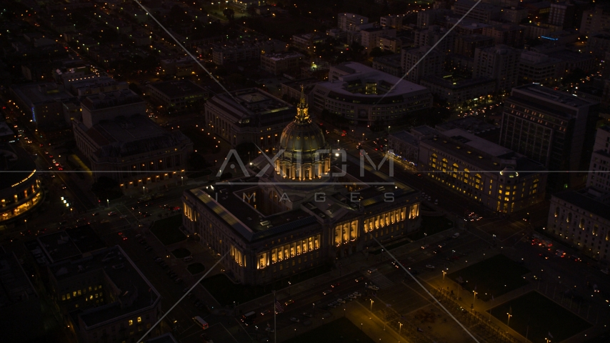 San Francisco City Hall in Civic Center, San Francisco, California, night Aerial Stock Photos | DCSF07_090.0000471