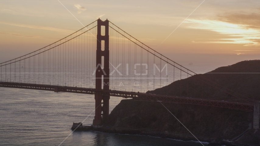 The north side of the Golden Gate Bridge, San Francisco, California, sunset Aerial Stock Photos | DCSF10_027.0000060