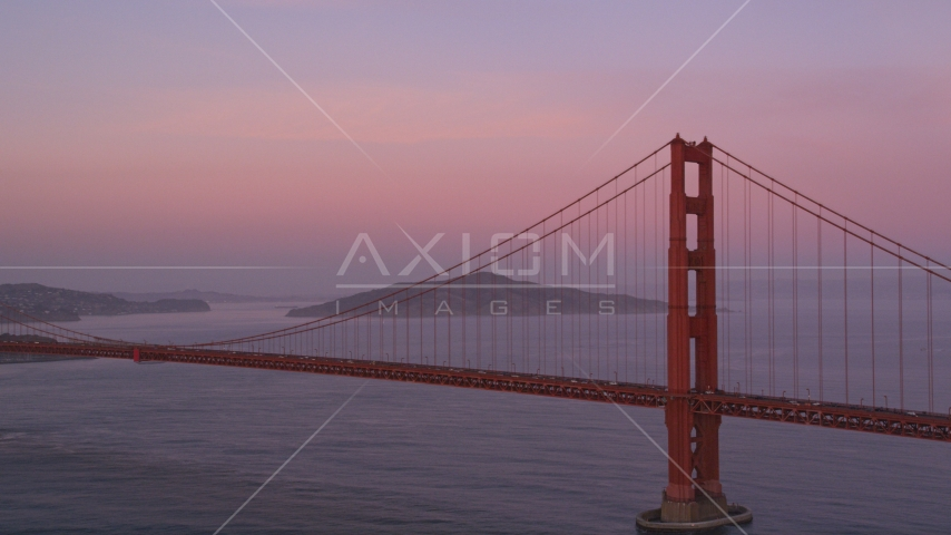 Golden Gate Bridge at twilight in San Francisco, California Aerial Stock Photos | DCSF10_029.0000561