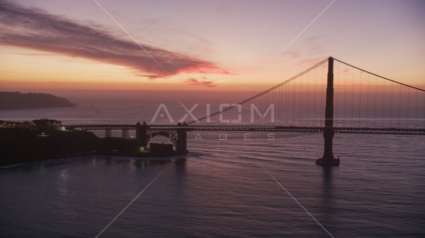 The south side of the Golden Gate Bridge, San Francisco, California, twilight Aerial Stock Photos | DCSF10_053.0000048