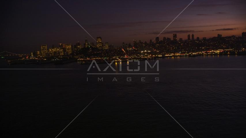 Pier 39 and skyline of Downtown San Francisco, California, twilight Aerial Stock Photos | DCSF10_060.0000000