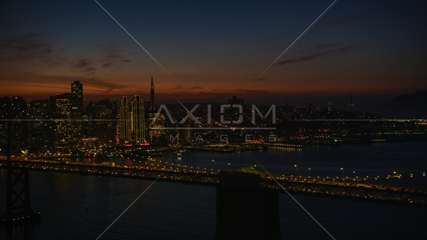 The Bay Bridge with San Francisco skyline in the background, California, night Aerial Stock Photos | DCSF10_072.0000075