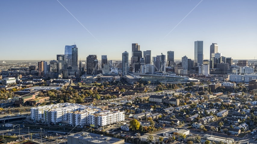 Wide view of towering skyscrapers of city skyline, Downtown Denver, Colorado Aerial Stock Photos | DXP001_000123