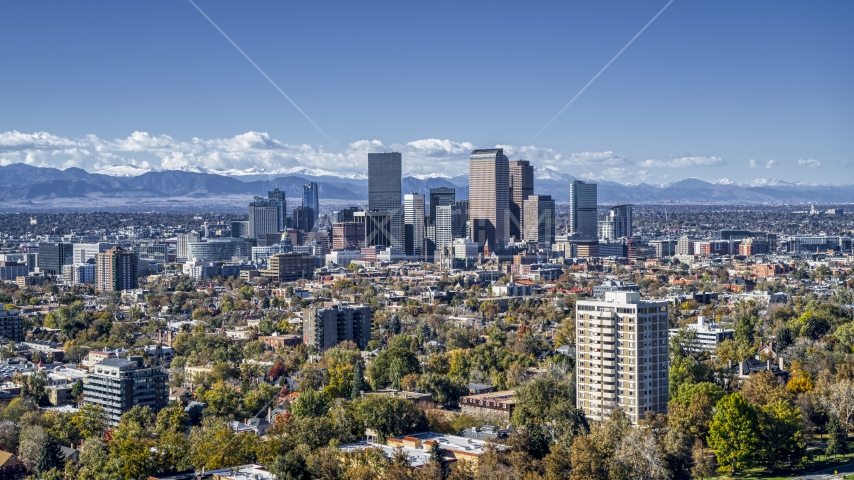 The skyline seen from across the city, Downtown Denver, Colorado Aerial Stock Photos | DXP001_000155