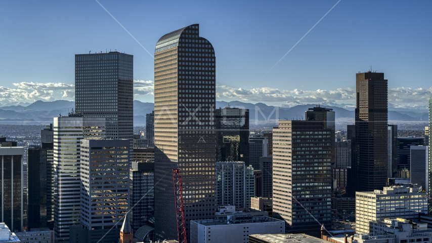 Wells Fargo Center skyscraper and nearby high-rises in Downtown Denver, Colorado Aerial Stock Photos | DXP001_000173