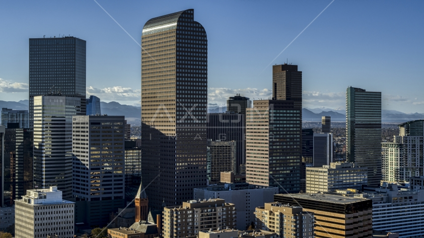 Wells Fargo Center skyscraper and surrounding high-rises in Downtown Denver, Colorado Aerial Stock Photos | DXP001_000174
