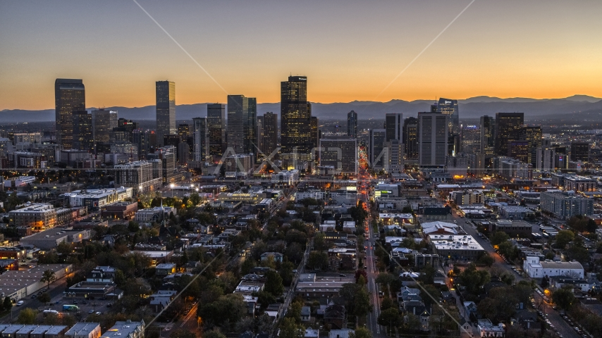 Wide view of Skyscrapers in the city's skyline at twilight, Downtown Denver, Colorado Aerial Stock Photos | DXP001_000189