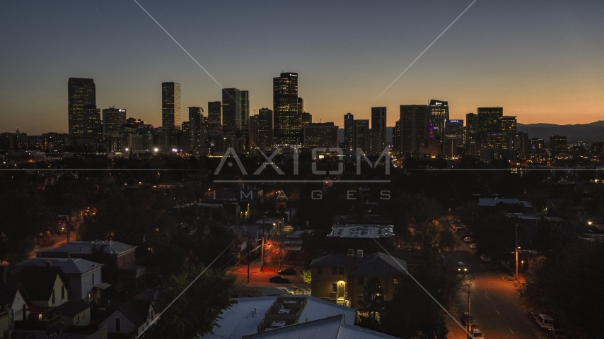 Giant skyscrapers in the city's downtown skyline at twilight, Downtown Denver, Colorado Aerial Stock Photos   DXP001_000192