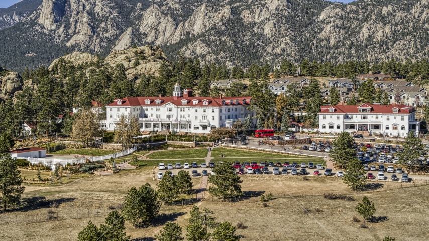 The historic Stanley Hotel in Estes Park, Colorado Aerial Stock Photos | DXP001_000210