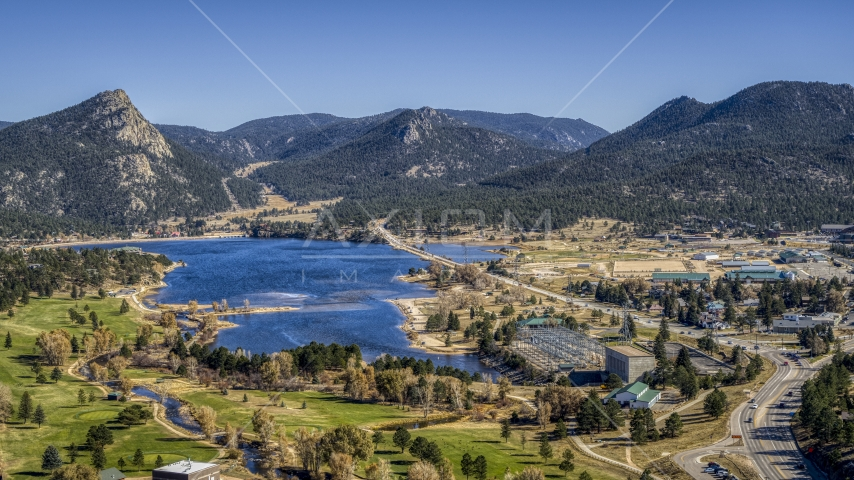 Lake Estes and mountains seen from the golf course in Estes Park, Colorado Aerial Stock Photos | DXP001_000219