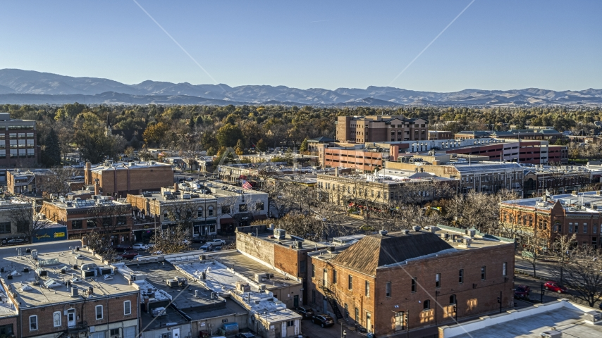 A view across the tops of brick office buildings in Fort Collins, Colorado Aerial Stock Photos | DXP001_000239