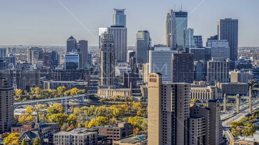 The city skyline's skyscrapers seen at sunrise, Downtown Minneapolis, Minnesota Aerial Stock Photo DXP001_000284 | Axiom Images
