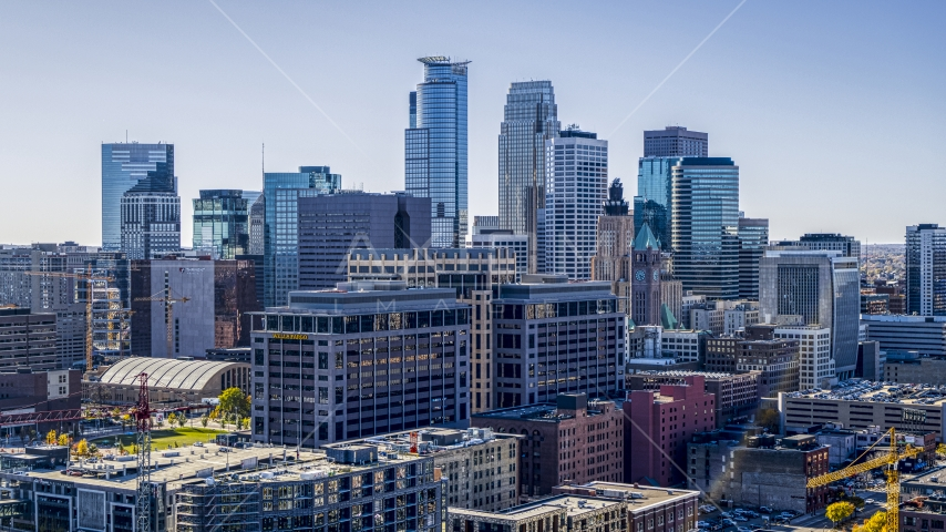 The city's skyline behind office buildings, Downtown Minneapolis, Minnesota Aerial Stock Photo DXP001_000301 | Axiom Images