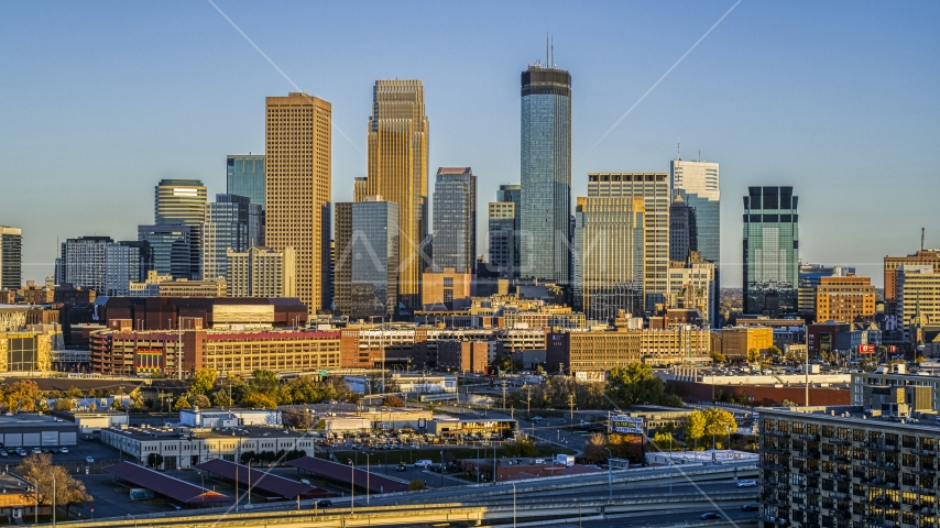 Towering skyscrapers of the city's skyline at sunset in Downtown Minneapolis, Minnesota Aerial Stock Photo DXP001_000323 | Axiom Images