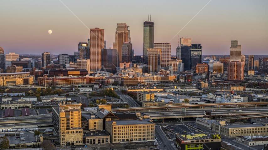 Skyscrapers of the city's skyline at sunset in Downtown Minneapolis, Minnesota Aerial Stock Photo DXP001_000326   Axiom Images