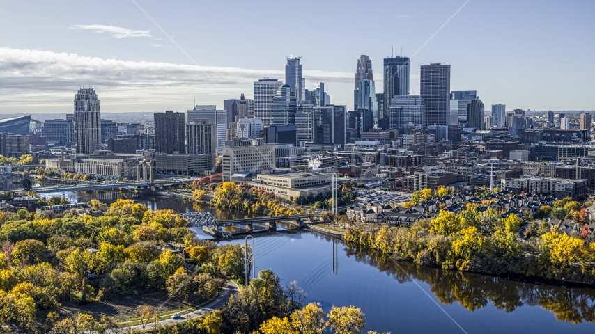 Bridges spanning the Mississippi River, and city skyline in distance, Downtown Minneapolis, Minnesota Aerial Stock Photo DXP001_000370 | Axiom Images