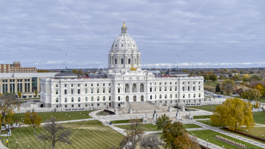 The a view of the front of the Minnesota State Capitol, seen from the park in Saint Paul, Minnesota Aerial Stock Photos   DXP001_000377