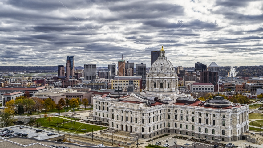 The Minnesota State Capitol building with the city skyline in the background, Saint Paul, Minnesota Aerial Stock Photos   DXP001_000391