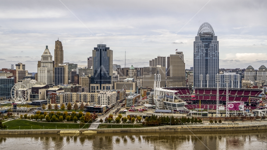 The city's skyline and baseball stadium seen from the Ohio River, Downtown Cincinnati, Ohio Aerial Stock Photos | DXP001_000449
