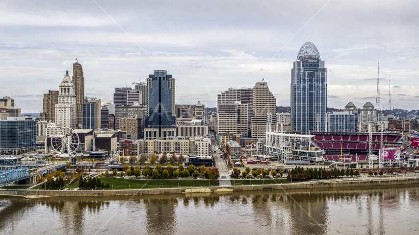 The city's skyline and baseball stadium beside the Ohio River, Downtown Cincinnati, Ohio Aerial Stock Photo DXP001_000450 | Axiom Images