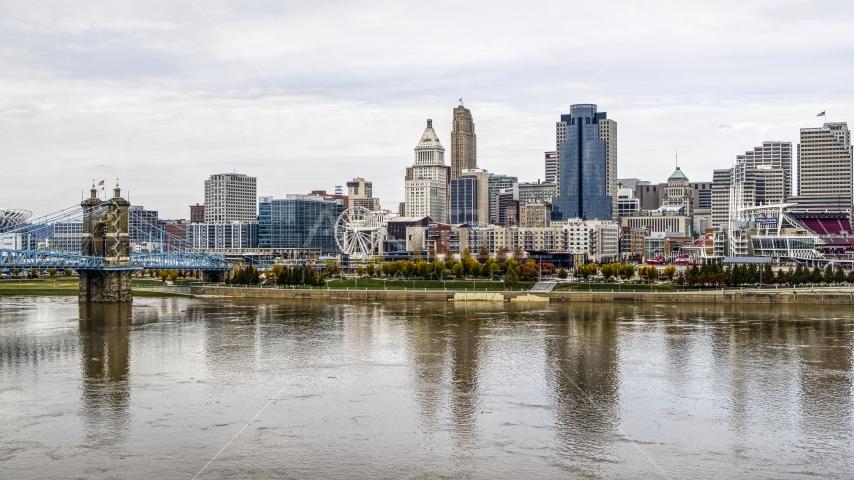 The city's skyline near the Ohio River, Downtown Cincinnati, Ohio Aerial Stock Photos   DXP001_000453