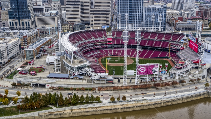 The Great American Ball Park baseball stadium in Downtown Cincinnati, Ohio Aerial Stock Photo DXP001_000455 | Axiom Images