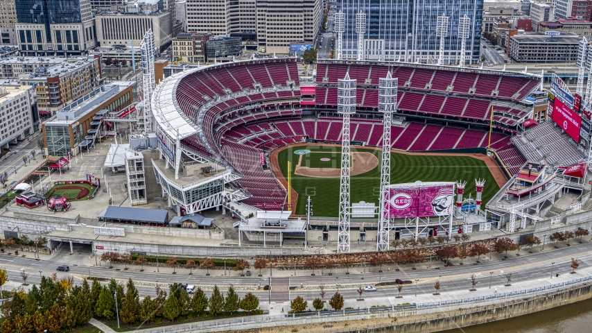 Great American Ball Park baseball stadium in Downtown Cincinnati, Ohio Aerial Stock Photos | DXP001_000456